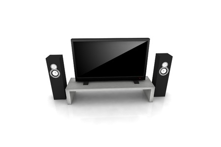 high definition television: home theater  high definition television with speakers - isolated 3d render