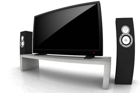 home theater  high definition television with speakers - isolated 3d render