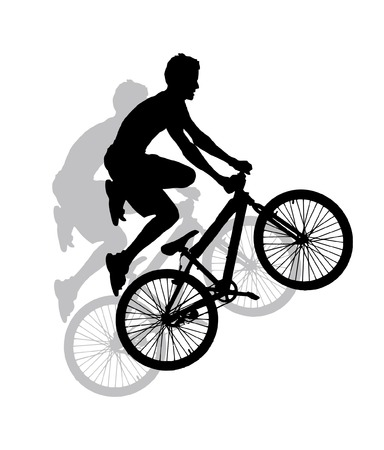 vector silhouette - extreme sport - jump with a mountain bike  Illustration
