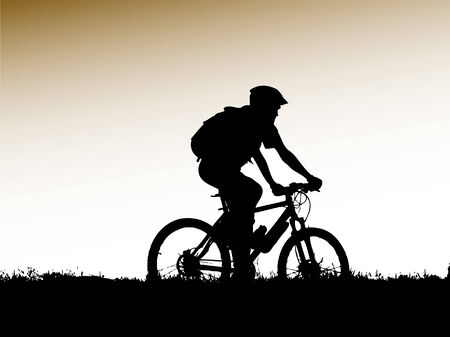 mountain biker girl silhouette Illustration