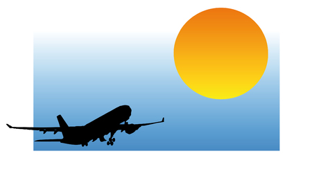 vector silhouette - airplane rear view Vector