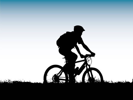 mountain biker girl silhouette Vector