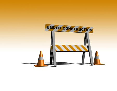 interim: under construction - caution sign with traffic cones - 3d illustration