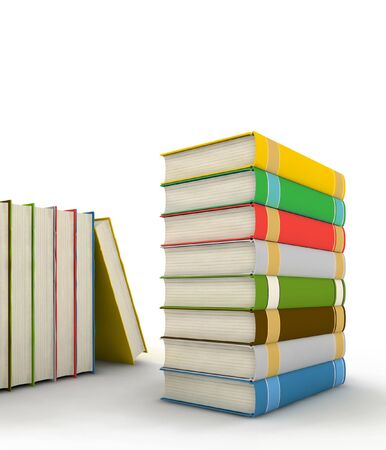 pile of books - isolated on white background - 3d render Stock Photo - 4260984