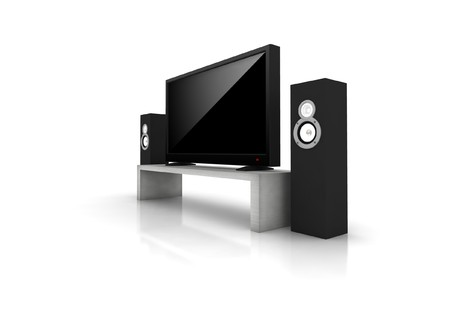 high definition: home theater  high definition television with speakers - isolated 3d render Stock Photo
