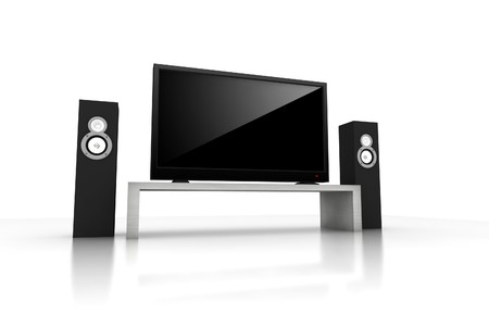 home theater / high definition television with speakers - isolated 3d render Stock Photo - 4285553