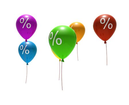 multicolored balloons with percent symbols - isolated on white Stock Photo - 4316788