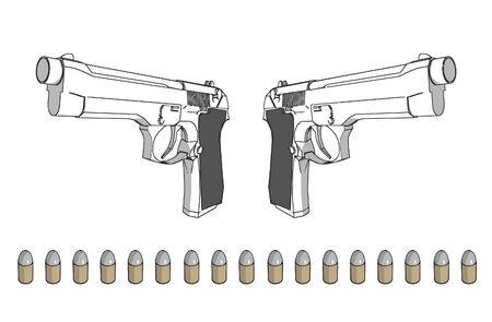 탄약: guns with ammunition - 3d isolated illustration