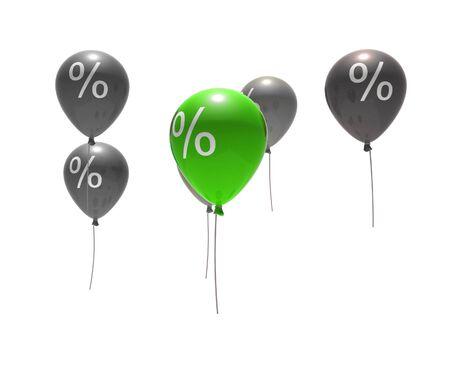 air bladder: palloncini per cento con simboli - isolati su bianco Archivio Fotografico
