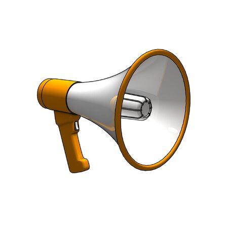 loudhailer: megaphone - 3d isolated illustration on white