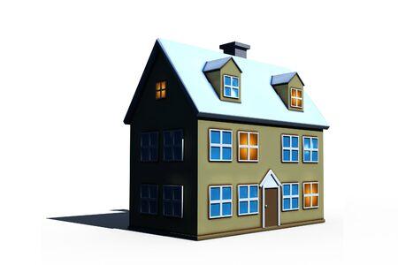 isolated new house - 3d render illustration on white Stock Illustration - 4466745