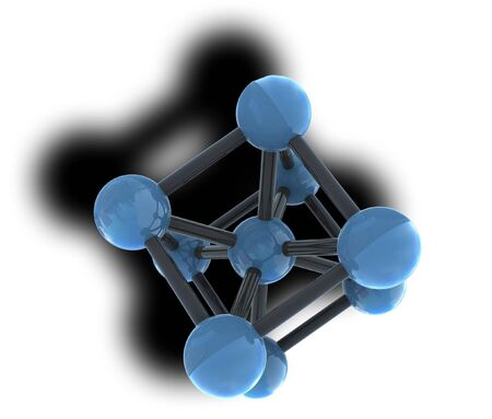 isolated molecule with shadow on white background photo