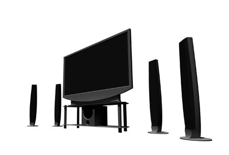 high definition television: home theater  high definition television with speakers - isolated 3d render Stock Photo
