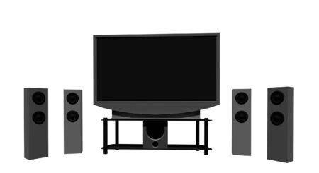home theater: home theater  televisione ad alta definizione con altoparlanti Archivio Fotografico