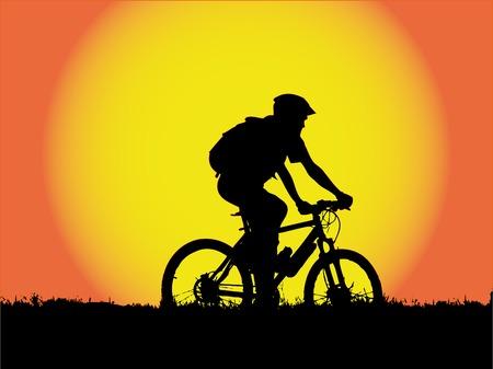 meisje silhouet: vector - mountain biker meisje silhouet Stock Illustratie