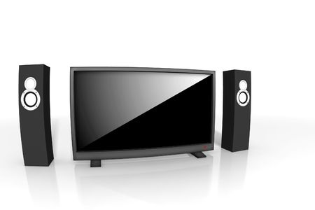 home theater / high definition television with speakers - isolated 3d render Stock Photo - 4534232