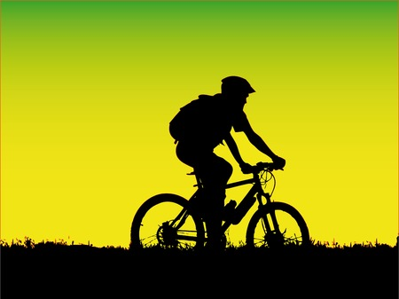 bike ride: vector - mountain biker girl silhouette