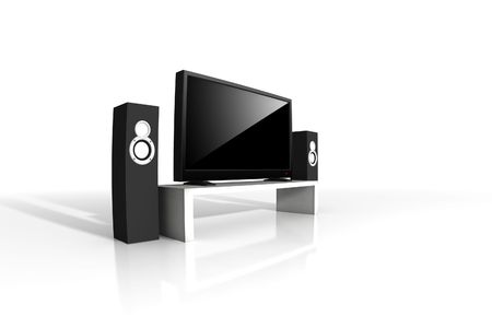 home theater / high definition television with speakers Stock Photo - 4559125