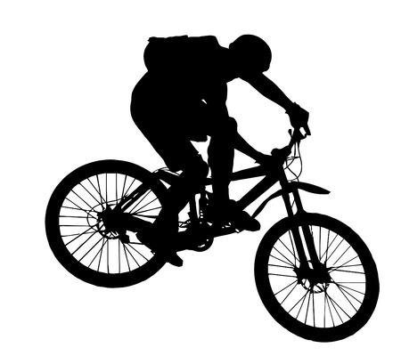 bicicleta vector: vector - saltar con una bicicleta de monta�a - silueta Vectores