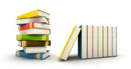 pile of books - isolated on white background - 3d render Stock Photo - 4559133