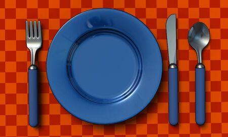 couteau fourchette cuill�re: couteau, fourchette, cuill�re et la plaque de table coth - 3d rendre