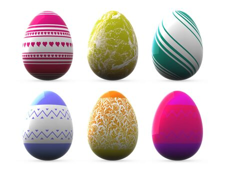 different style easter eggs - isolated on white photo