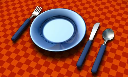 dieting: knife, fork, spoon and plate with table coth - 3d render