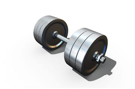 isolated dumbbell on white background - 3d render Stock Photo - 5159273