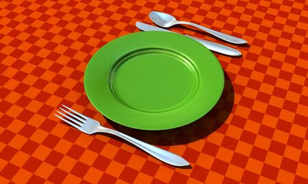 knife, fork, spoon and plate with table coth - 3d render photo