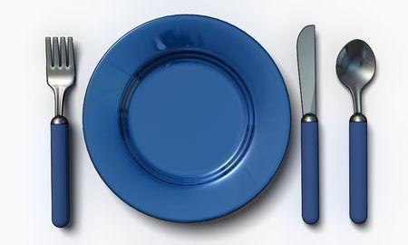 couteau fourchette cuill�re: couteau, fourchette, cuill�re et plaque - isol� 3d rendre