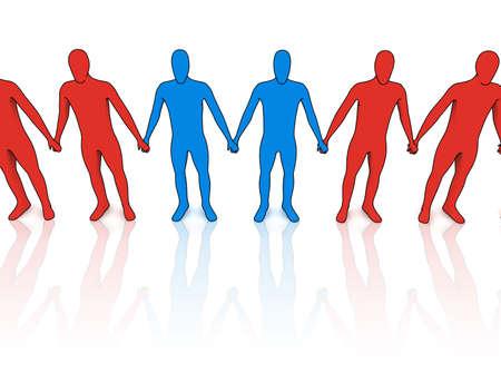 3d people in line - outsiders - illustration on white Banco de Imagens - 5200858
