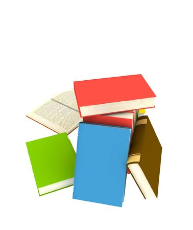 pile of books - isolated on white background - 3d render Stock Photo - 5244321