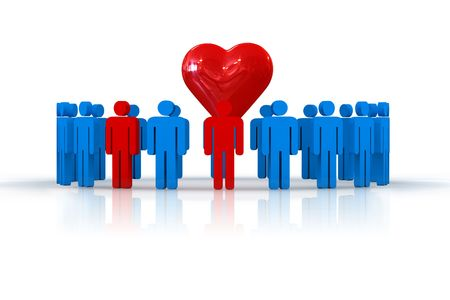 humanity: people in circle with heart symbol - 3d illustration