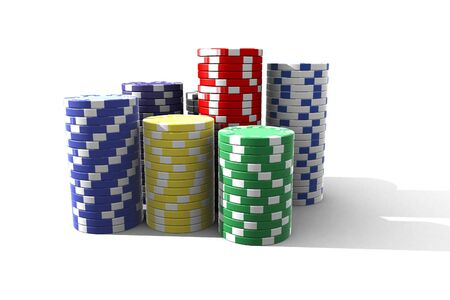 multicolor poker chips - 3d render isolated on white Stock Photo - 5244360