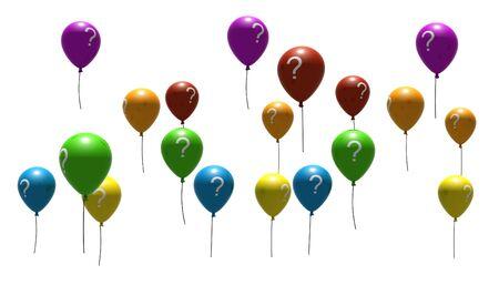 air bladder: multicolore con palloncini questione, simboli - isolati su bianco