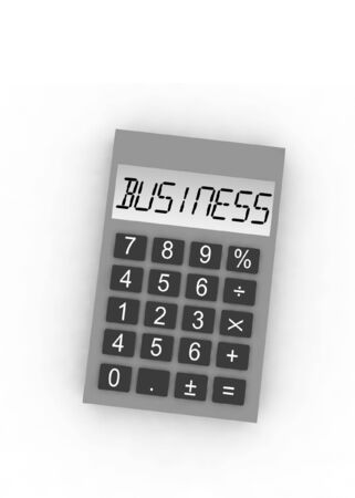 compute: calculator with word business - isolated 3d illustration