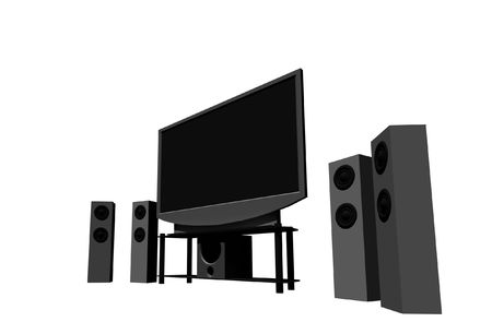 home theater / high definition television with speakers - isolated 3d render Stock Photo - 5274830