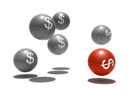 outsider: isolated spheres with dollar symbol - outsider - 3d render Stock Photo