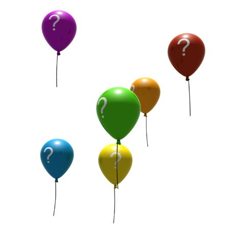 multicolored balloons with question-mark symbols - isolated on white photo