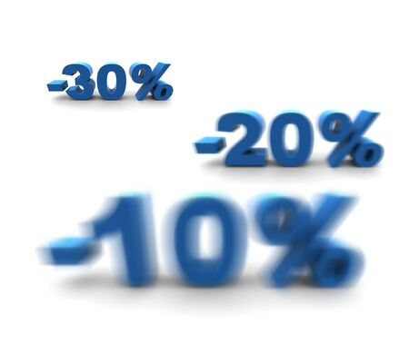 dof: 10-20-30% - isolated 3D render illustration with shallow dof Stock Photo