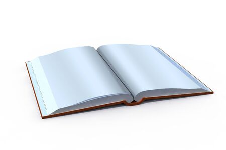 isolated open book with blank pages - 3d render Stock Photo - 5355801