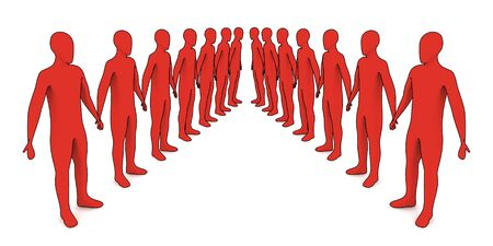 people in line - 3d illustration on white