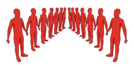 people in line - 3d illustration on white Banco de Imagens - 5355842