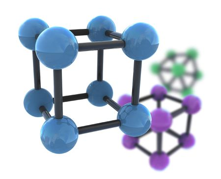 isolated molecule with shallow dof - 3d render illustration on white illustration