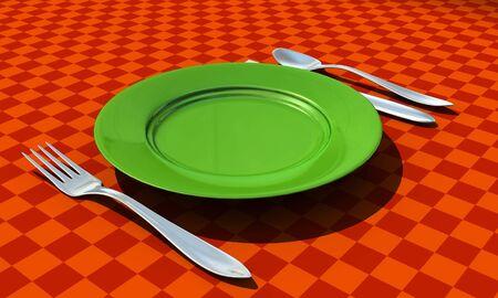 couteau fourchette cuill�re: couteau, fourchette, cuill�re et une assiette avec coth de table - 3d render