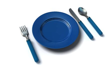 famine: knife, fork, spoon and plate - isolated 3d render