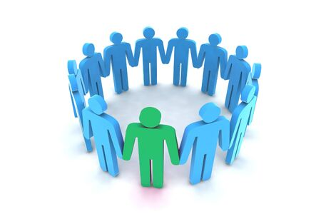 outsider: people in circle - outsider - 3d illustration Stock Photo
