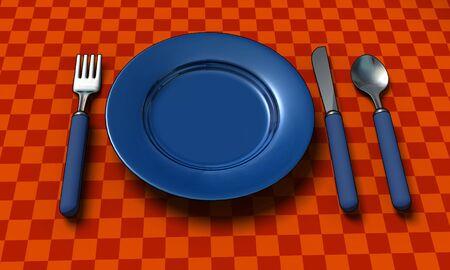 couteau fourchette cuill�re: couteau, la fourche, la cuill�re et la plaque avec rendu de 3d - table coth