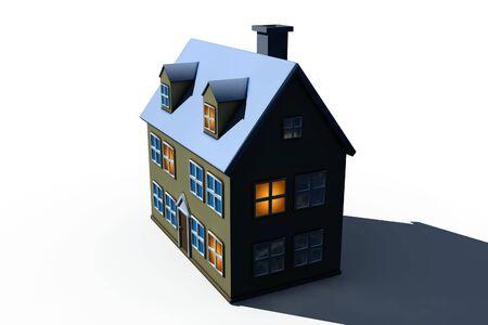 isolated big house - 3d render illustration on white Stock Illustration - 5416329