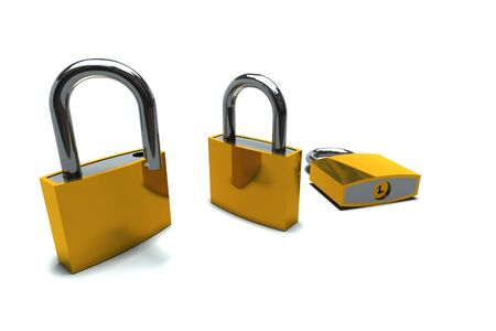 isolated padlocks in open and closed positions Stock Photo - 5416312